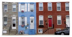 Beach Towel featuring the photograph South Baltimore Row Homes by Brian Wallace