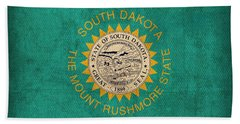 South Dakota State Flag Art On Worn Canvas Beach Towel by Design Turnpike
