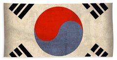 South Korea Flag Vintage Distressed Finish Beach Towel