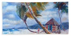 South Pacific Hut Beach Towel