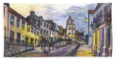 Nightfall At South Queensferry Edinburgh Scotland At Dusk Beach Towel by Carol Wisniewski