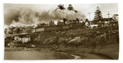 Southern Pacific Del Monte Passenger Train Pacific Grove Circa 1954 Beach Sheet by California Views Mr Pat Hathaway Archives