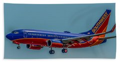 Southwest 737 Landing Beach Towel