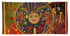 Beach Towel featuring the digital art Southwest Huichol Del Sol by Vagabond Folk Art - Virginia Vivier