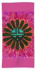 Beach Sheet featuring the painting Southwest Sunburst Sunface by Susie Weber