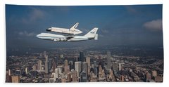 Space Shuttle Endeavour Over Houston Texas Beach Sheet by Movie Poster Prints