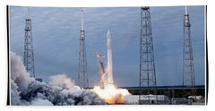 Spacex-2 Mission Launch Nasa Beach Towel