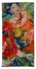 Beach Towel featuring the painting Spanish Dancer by Avonelle Kelsey