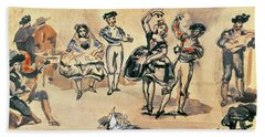 Spanish Dancers, 1862 Wc, Pencil And Ink Beach Towel