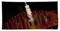 Beach Sheet featuring the photograph Sparkplug And Rusty Cooling Fins by Wilma  Birdwell