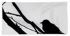 Beach Towel featuring the drawing Sparrow In A Gray Sky by D Hackett