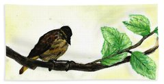 Sparrow On A Branch Beach Towel by Francine Heykoop