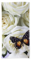 Speckled Butterfly On White Rose Beach Towel
