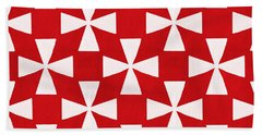 Spice Twirl- Red And White Pattern Beach Towel