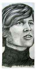 Beach Towel featuring the drawing  A Young Barry Gibb by Patrice Torrillo