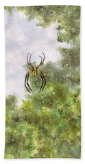 Spider In Web #2 Beach Towel
