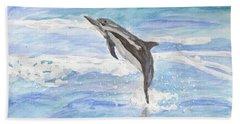 Spinner Dolphin Beach Sheet by Pamela  Meredith