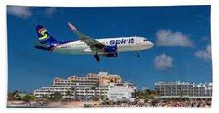 Spirit Airlines Low Approach To St. Maarten Beach Sheet