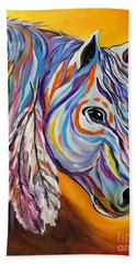 Beach Towel featuring the painting 'spirit' War Horse by Janice Rae Pariza