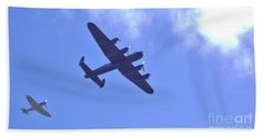 Spitfire  Lancaster Bomber Beach Towel by John Williams