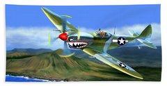 Spitfire Over Hawaii Beach Towel by Glenn Holbrook