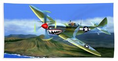 Spitfire Over Hawaii Beach Sheet by Glenn Holbrook