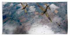 Raf Spitfires Swoop On Heinkels In Battle Of Britain Beach Sheet by Gary Eason