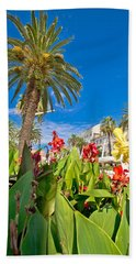 Split Riva Palms And Flowers Beach Sheet by Brch Photography