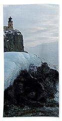 Split Rock Lighthouse Winter Beach Towel by James Peterson