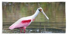 Spoonbill In The Pond Beach Towel