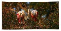 Beach Towel featuring the photograph Spoonbill Love Nest by John F Tsumas