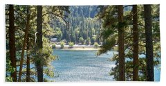 Forrest Mountain Trees Lake Scenic Photography Lake Gregory San Bernardino California - Ai P. Nilson Beach Towel