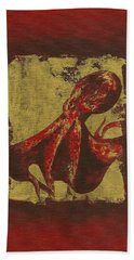 Spotted Red Octopus Beach Towel