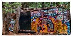Spray Painted Box Car Train Wreck Beach Towel