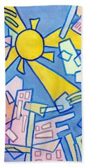 Beach Towel featuring the mixed media Summer In The City #2 by Jim Whalen