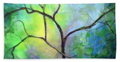 Beach Towel featuring the painting Spring Catawba Tree by Jodie Marie Anne Richardson Traugott          aka jm-ART
