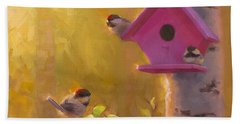 Spring Chickadees 1 - Birdhouse And Birch Forest Beach Towel