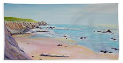 Beach Towel featuring the painting Spring Hills And Seashore At Bowling Ball Beach by Asha Carolyn Young