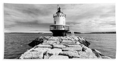 Spring Point Ledge Light In Black And White Beach Towel