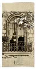 Springtime In Paris In Sepia Beach Towel
