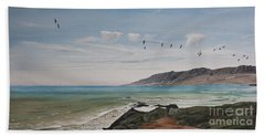 Squadron Of Pelicans Central Califonia Beach Towel