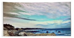 Squibby Cliffs And Mackerel Sky Beach Towel by Kathy Barney