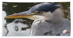 Sr Heron  Beach Towel by Cheryl Hoyle