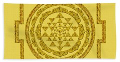 Sri Yantra In Gold Beach Towel