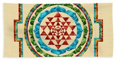 Sri Yantra Beach Sheet by Olga Hamilton