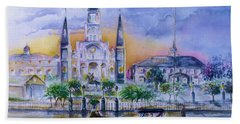 Beach Sheet featuring the painting St. Charles New Orleans Sunset by Bernadette Krupa