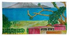 St. Eustatis From St. Kitts Beach Sheet by Frank Hunter