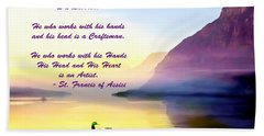 St Francis Of Assisi Quotation Beach Sheet