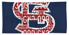 St. Louis Cardinals Baseball Vintage Logo License Plate Art Beach Towel by Design Turnpike