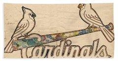 St Louis Cardinals Poster Art Beach Towel by Florian Rodarte